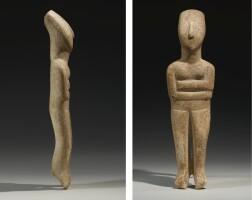 36. a cycladic marble figure of a goddess, early bronze age ii, circa 2600-2400 b.c.