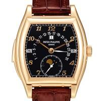 2358. 百達翡麗   型號5013粉紅金三問萬年曆腕錶,備逆跳日期、月相及閏年顯示,機芯編號1908065,錶殼編號4330456,約2007年製