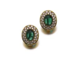 508. pair of emerald and diamond earrings