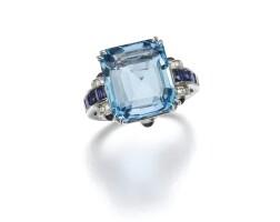 1. aquamarine, sapphire and diamond ring