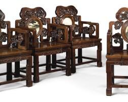 915. 清十九世紀 紅木透雕靈芝紋鑲大理石扶手椅四件
