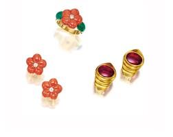 1602. group of jewelry, van cleef & arpels and bulgari