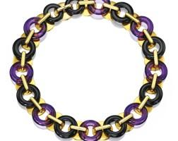 20. 18 karat gold, amethyst and onyx necklace, aldo cipullo