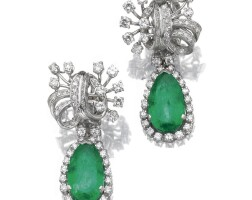 42. pair of emerald and diamond ear clips