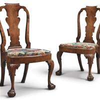 11. a pair of george ii walnut side chairs, circa 1730