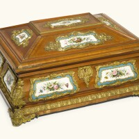286. a russian gilt-bronze and porcelain mounted tulipwood parquetry jewellery casket, gambs workshop and imperial porcelain workshop, st petersburg circa 1846