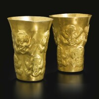 10. pair of sicán gold beakers of frogs ca. a.d. 900-1100
