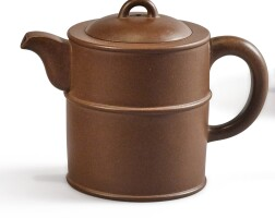 1203. a yixing cylindrical 'three ridges' teapot and cover, signedzhang honghua 20th century |
