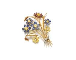 320. sapphire, yellow sapphire, garnetand diamond floral brooch, 1950s