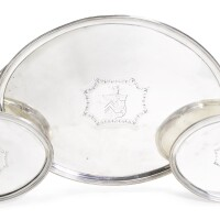 26. a composite suite of george iii silver salvers and two-handled tray, crouch & hannam, london, 1809 & 1813 |