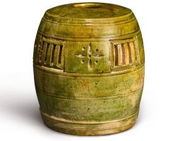 302. a green-glazed barrel-shaped parfumier five dynasties |