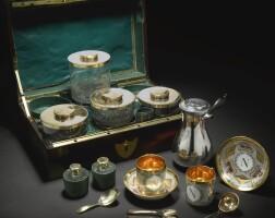40. 波利娜·博爾蓋塞王妃,法國皇室御用銀器、銀鎏金器及巴黎瓷製旅行套件 零售商為馬丁-紀堯姆·比耶奈,巴黎, 約1800年 |