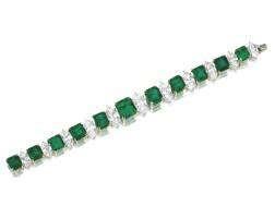 1861. 祖母綠配鑽石手鏈