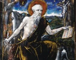 9. belle plaque en émail peint représentant saint jérôme pénitent, limoges, milieu du xvie siècle