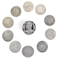 101. a mid-17th century silver counter box and cover, with thirty-eight contemporarycounters, unmarked, english |