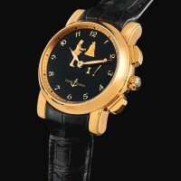 158. ulysse nardin | jaquemart sonnerie en passant san marco, reference 756-88 a pink gold hour striking, repeatingand automaton wristwatch, circa 2008