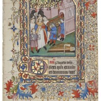 6. funeral procession, miniature on a leaf from a book of hours, in latin [france (coutances?), 15th century (c.1420s)]