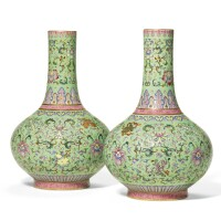 51A. a rare pair of green-ground famille-rose bottle vases qianlong seal marks and period