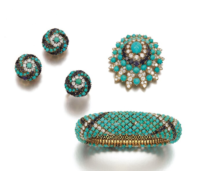 Turquoise, sapphire and diamond parure. Estimate £5,500-6,500.