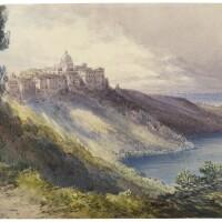 425. william callow, r.w.s. | the lake of albano and castel gandolfo, italy