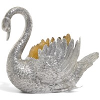 3. a german table centrepiece in the form of a swan, makers mark a lily, circa 1900