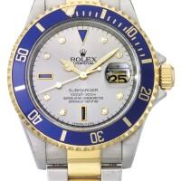 10. 勞力士(rolex) | 16613型號「submariner」精鋼及黃金鑲鑽石及藍寶石自動上鏈鍊帶腕錶備日期顯示,年份約1997。