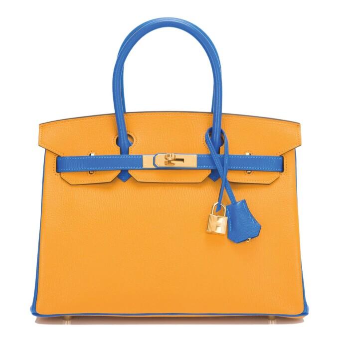 Hermès Horseshoe Stamp (HSS) Birkin 30cm of Jaune D'Or and Bleu Hydra Chevre Mysore Leather with Gold Hardware