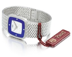28. piaget   reference 9771 d2 a white gold and diamond-setbracelet watch with lapis lazuli dial, circa 1970