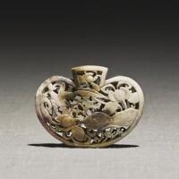 246. a 'chicken bone' jade openwork pomander yuan dynasty |