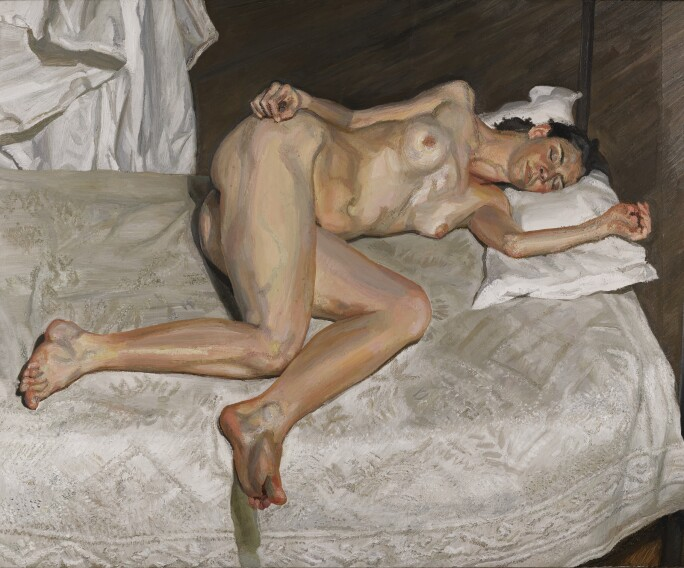 Painting of a nude white woman lying on her side.