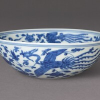 3008. a blue and white 'phoenix' bowl mark and period of jiajing |