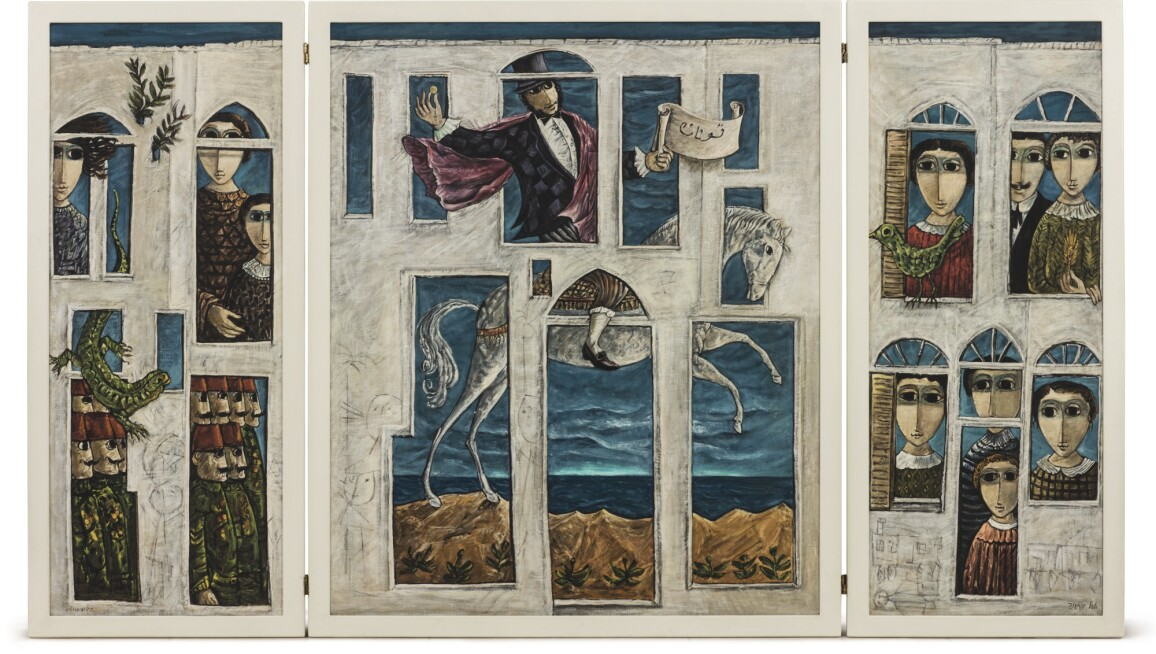 Triptych with the central panel showing a man in a top hat riding on a white horse.