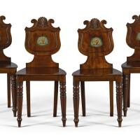 1. a set of four george iv mahogany hall chairs, circa 1830 |