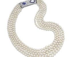 1642. 養殖珍珠配藍寶石及鑽石項鏈