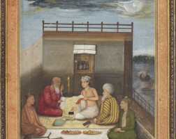 13. a princely scribeseated with a group of holy men on a terrace at night, mughal,circa 1660-70