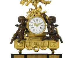 60. a louis xvi ormolu and bronze sculptural quarter striking mantel clock with repeat