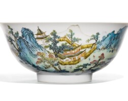 40. a famille-rose 'landscape' bowl qianlong seal mark and period