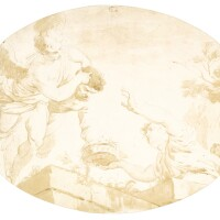 339. françois-andré vincent | three figures seen from below, possibly a design for a ceiling