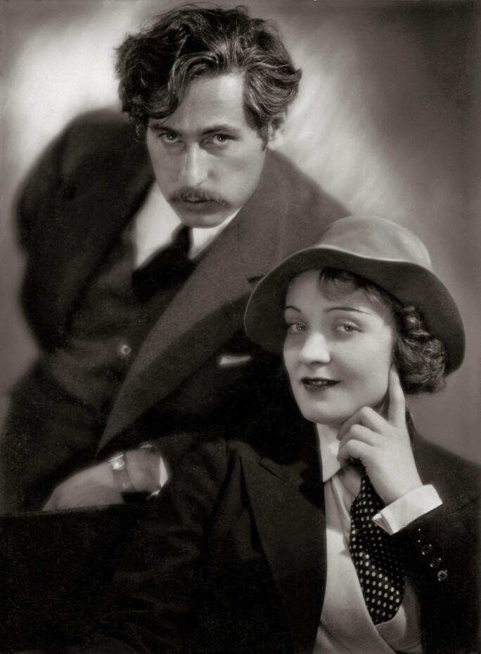 Josef von Sternberg and Marlene Dietrich in Germany. Photograph. 1930