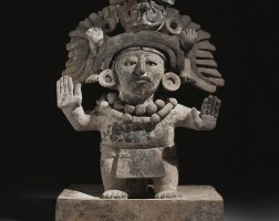 38. zapotec figural urn on a platform, monte alban iiib, classic, ca. a.d. 450-650