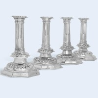 107. a set of four william and mary silver candlesticks, maker's mark db, a mullet above, a crescent inverted below, ascribed to daniel beverley, london, 1691 |
