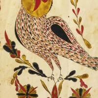 678. watercolor presentation fraktur of an owl probably lehigh county, pennsylvania, circa 1810
