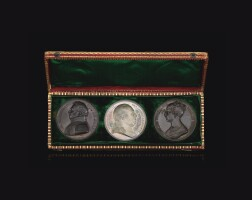 12. france, marriage of charles ferdinand d'artois, duc de berry and maria carolina of bourbon-sicily, a cased trio of commemorative medals