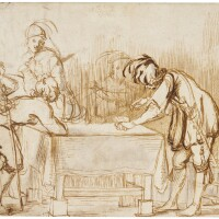 300. french school, early 17th century | recto: a tavern scene with music and merrymaking around a tableverso: a partial study of a leg