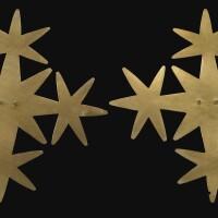 1. pair of miraflores gold star ornaments, ca. a.d. 500-1000