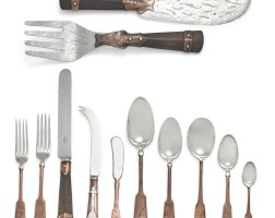 48. an unusual rustic american coppered and silvered metal flatware set, r. wallace & sons mfg. co., wallingford, ct, early 20th century  