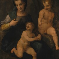 62. studio of andrea del sarto | the madonna and child with saint john