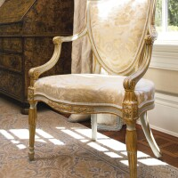 8. a pair of george iii parcel-gilt gray-painted armchairs in the manner of mayhew and ince circa 1780