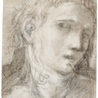 11. circle of antonio allegri, called correggio | study of the head of a woman