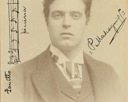 190. mascagni, pietro. fine cabinet photograph signed and inscribed with an autograph musical quotation
